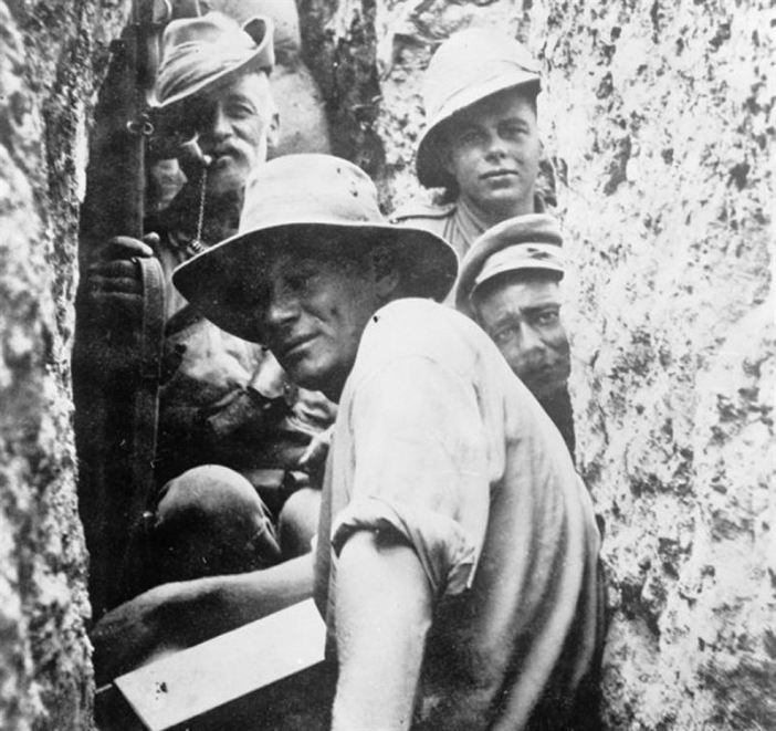 Australian Infantrymen and Light Horsemen in a trench on Walkers Ridge, Gallipoli. (Credits: Imperial War Museum)