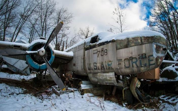 These eerie pictures show all that remains of a fleet of World War II U.S. Air Force fighter planes. With their livery almost obscured by rust and moss these abandoned metal skeletons are almost unrecognisable from the once great air crafts they were. Pictured is a B-25 Mitchell.