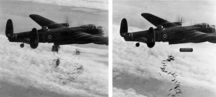 "A Royal Air Force Avro Lancaster I (s/n NG128, coded ""SR-B"") of No. 101 Sqn out of Ludford Magna. Bombing of Duisburg."