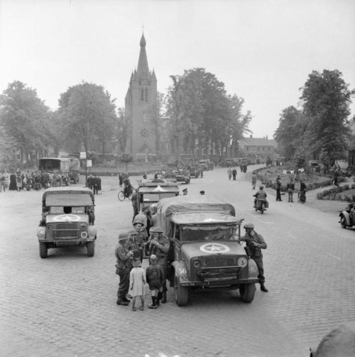 Bedford MWD trucks and other vehicles of the 4th Wiltshire Regiment, 43rd Division, in Valkenswaard, Netherlands.