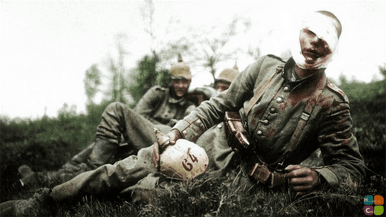 A wounded German soldier probably from the 64th infantry Regiment (8th Brandenburg) part of the 6th Division. May 1915.