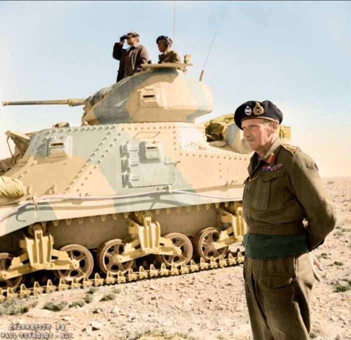 General Bernard Montgomery stands beside an M3 Grant command tank near Tripoli, Libya. 27th of January 1943.