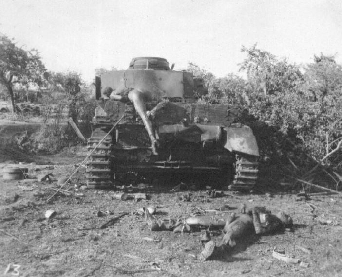 Destroyed German Panzerkampfwagen IV in Falaise, Normandy.