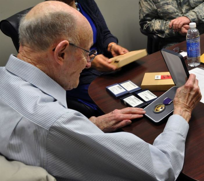 1Lt. Clayton A. Nattier, B-17G Pilot veteran, receives medals