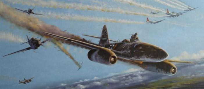 Walter Schuck gets out of his Messerschmitt Me 262 - the P-51 of Joe Peterburs in the back (Credits: Uwe Benkel / Arbeidsgruppe Vermisstenforschung)
