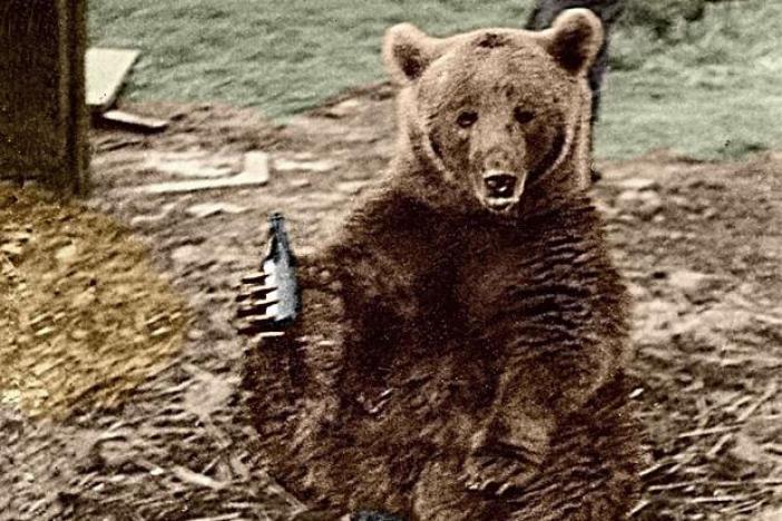 Wojtek enjoying a beer.