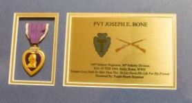 The Purple Heart Medal of Pvt. Joseph E. Bone. (Credits: Maj. Randall Stillinger)