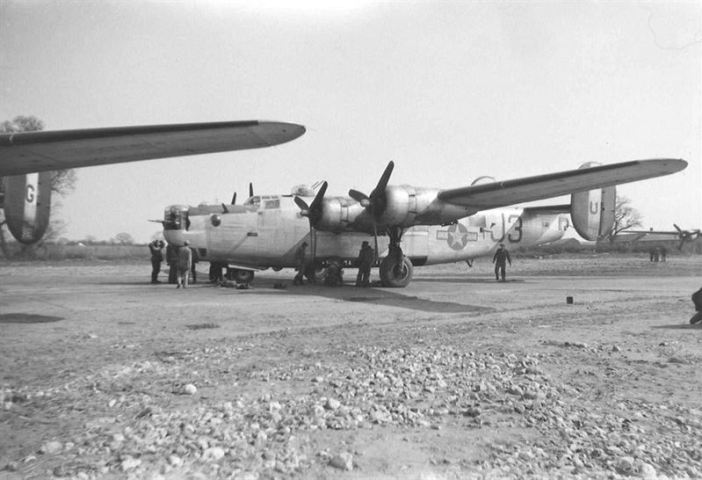B-24 Liberator from the 755th Bombardment Squadron, 458th Bombardment Group of the Eight Air Force.