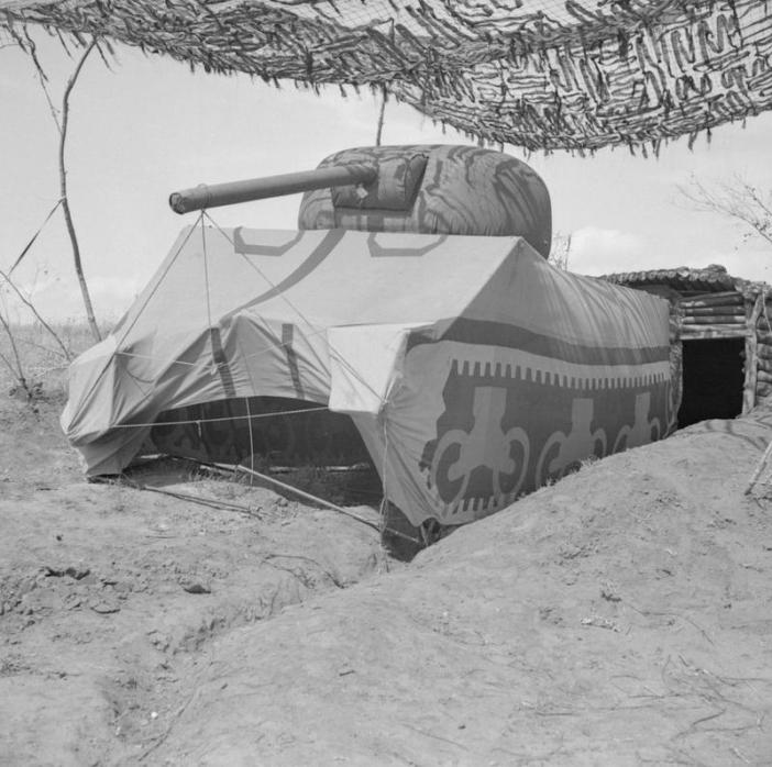 Dummy Sherman tank in the Anzio bridgehead, 21 May 1944. (Credits: © IWM (NA 15274))