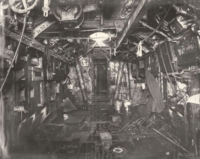 U-Boat 110, Torpedo Room looking aft, including a Torpedo lifting beam overhead.