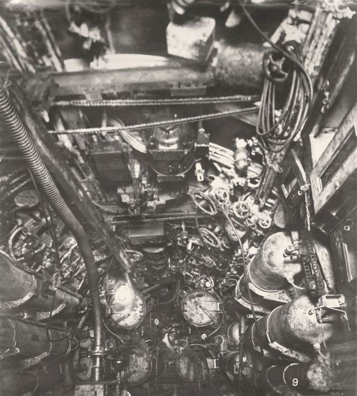 U-Boat 110, the Torpedo Room showing an overhead arrangement