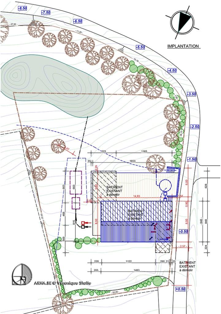 implantation maison bio écologique bioclimatiqueenergie positive conçue par Véronique Staffe selon concept éco-bio-climatique avec spirale du nombre d'or