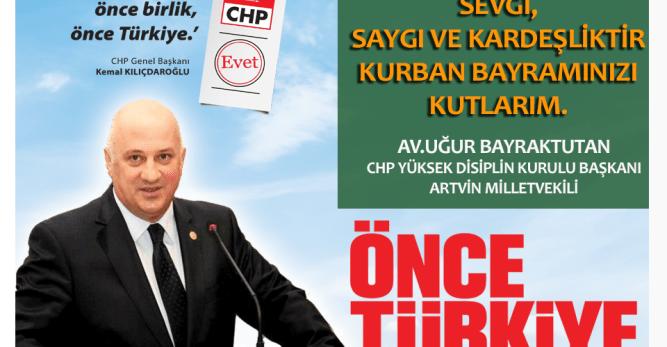 CHP Artvin Milletvekili Uğur Bayraktutan Bayram Mesajı Yayımladı