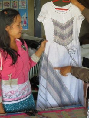 Traditional wedding dress sewn by the women's group
