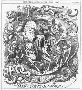 Caricature of Darwin's theory in the Punch almanac for 1882, published at the end of 1881 when Charles Darwin had recently published his last book, The Formation of Vegetable Mould Through the Action of Worms. Source: Wikimedia.