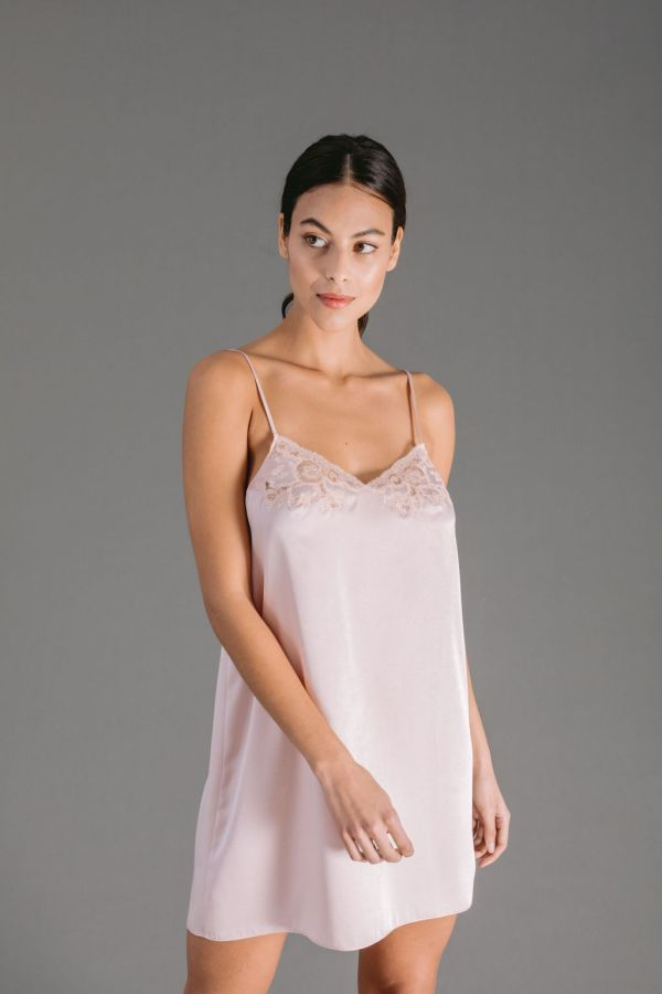 Powder pink silk satin slip with Leavers lace