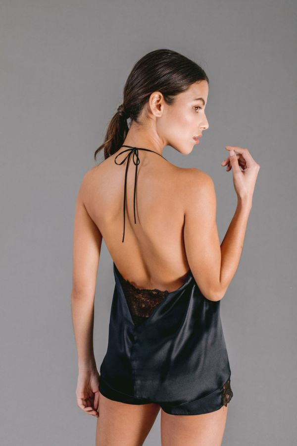 Black silk satin camisole with Leavers lace trim