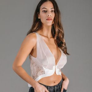 White organza vest top with Leavers lace appliques