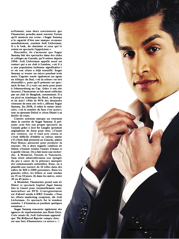 Sugar Sammy Magazine La presse 2011 par Ariane Simard
