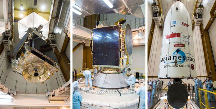 Ariane 5 recebe os seus passageiros via satélite para o Flight VA235 da Arianespace: SKY Brasil-1 e Telkom 3S