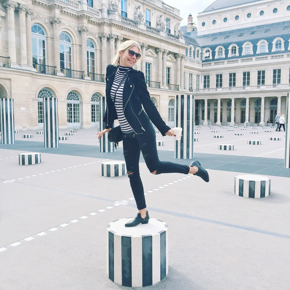 Goofing around at Les Colonnes De Buren
