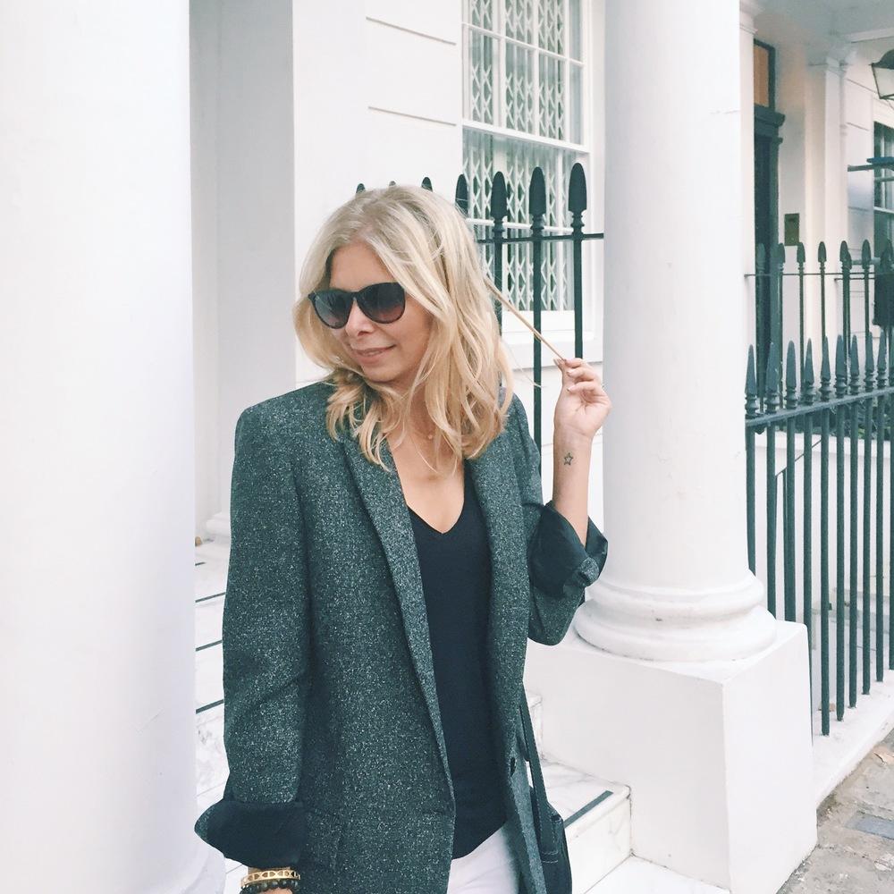 Arianna Trapani wears blazer boyfriend jacket from ZARA, Allsaints grey t-shirt,Chloe Marcie bag.
