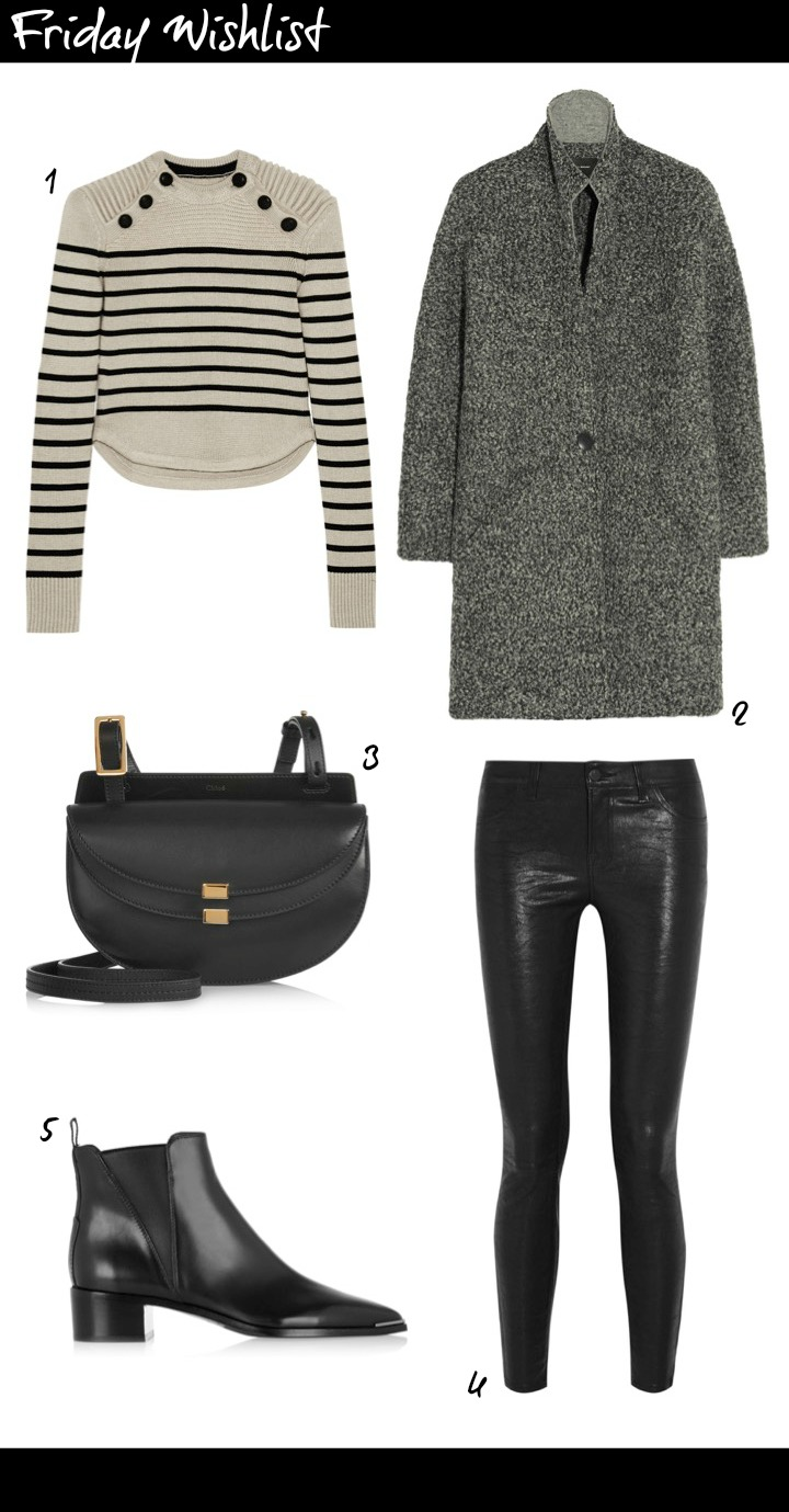 Friday wishlist featuring Isabel Marant striped Jumper, Isabel Marant grey boyfriend coat, JBrand Skinny leather pants, Acne Jensen leather ankle boots, Chloe Giorgia Mini handbag.