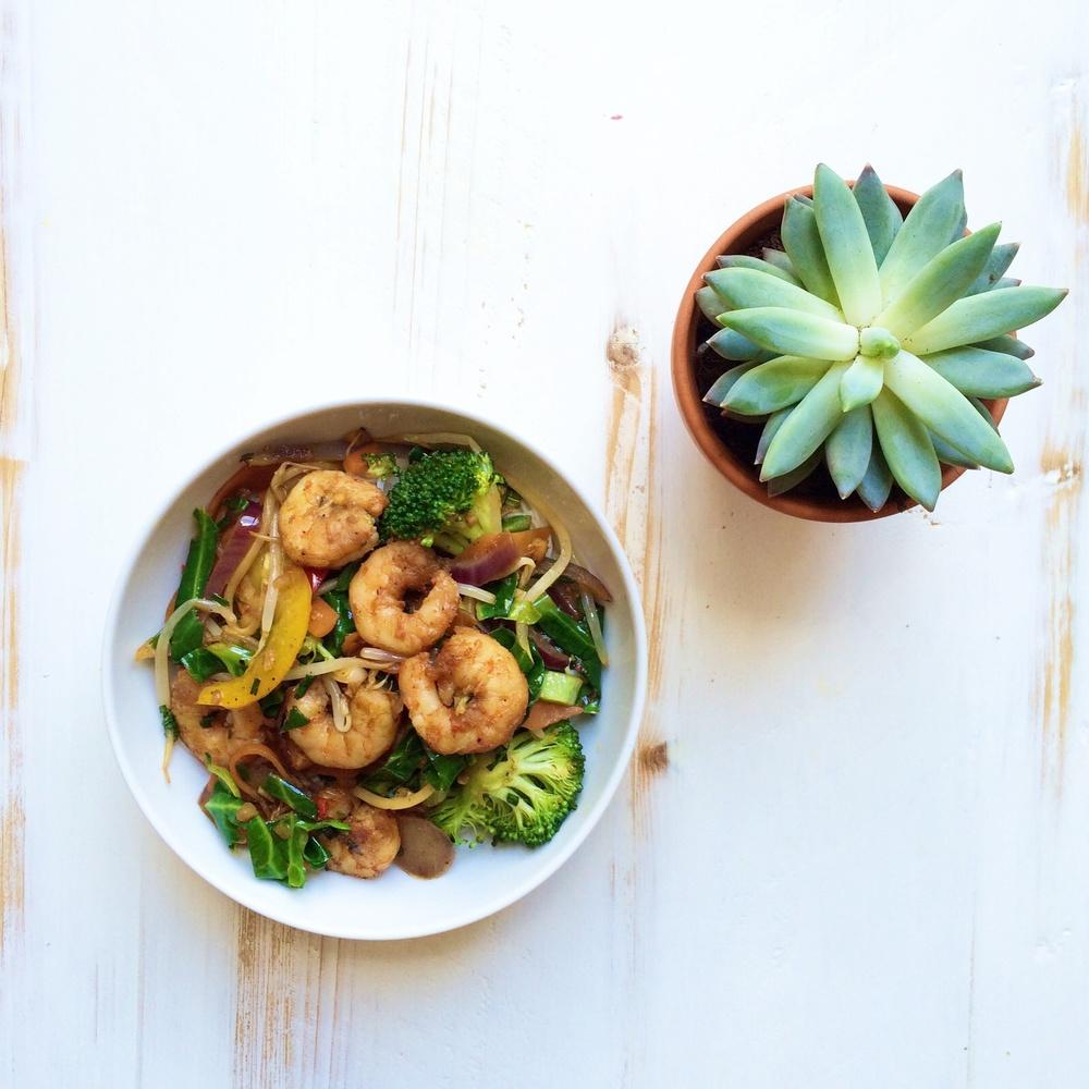 Prawn Stir Fry with Rice Noodles