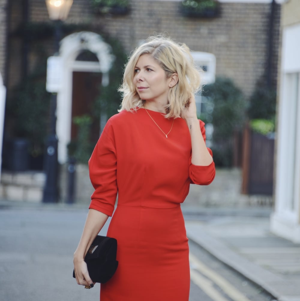 Arianna Trapani from Arianna's Daily wears the Brigitte red dress from Tabitha Webb for Valentine's Day. Also wearing Topshop sandals.