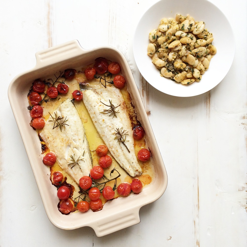 Healthy Recipe of the week: Roasted Sea Bass With Roasted Tomatoes, Butter Bean & Parsley Salad
