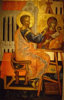 Atene, Museo Bizantino, S. Luca dipinge l'Icona della Madre di Dio Odighitria, inizi XVII sec.