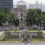 Doves fly around the Atomic Bomb Dome at the Peace Memorial Park after their release during the memorial ceremony in Hiroshima, on August 6. The western Japanese city marked its 64th anniversary of the atomic bombing. AFP/ Getty Images / Kazuhiro Nogi Read more here: http://blogs.sacbee.com/photos/2009/08/hiroshima-64th-anniversary-of.html#storylink=cpy