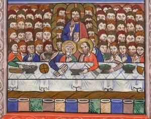 """""""Il miracolo della moltiplicazione dei pani e dei pesci"""", miniatura tratta da Libro di preghiere (1240 circa), British Library, Londra."""