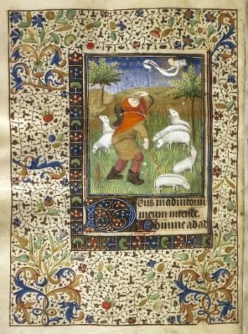 Libro delle ore: l'annuncio della nascita di Cristo ai pastori; Francia, c1450-1460