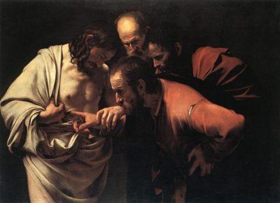 Caravaggio, L'incredulità di Tommaso, olio su tela di 107 × 146 cm, 1600-1601, Bildergalerie di Potsdam.