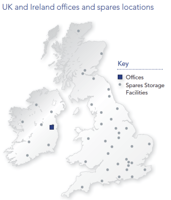 UK and Ireland Offices and spares locations