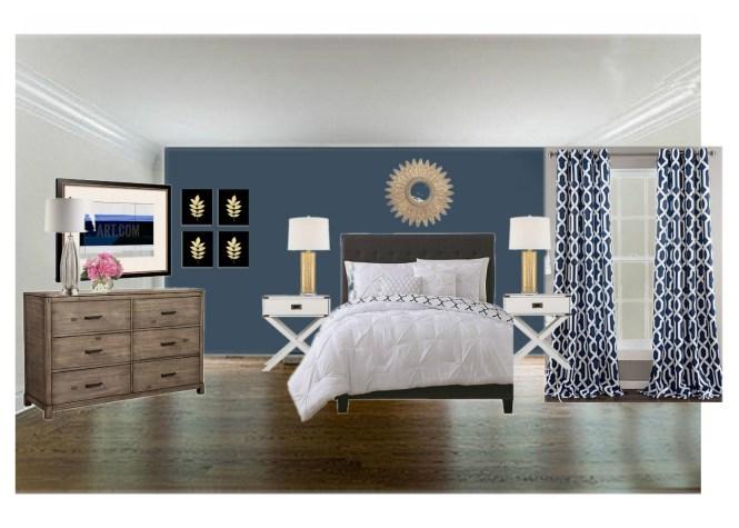 Timeless Hotel Glam Navy and White Master Bedroom