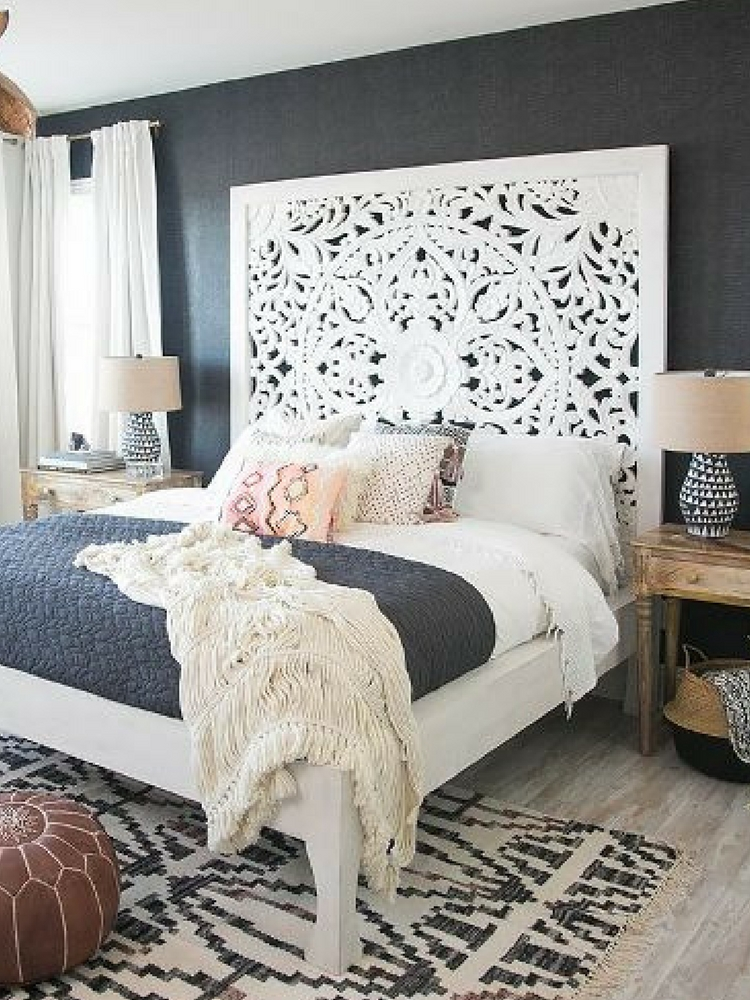 Anthropologie Lombok White Carved Wood Bed