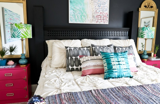 One Room Challenge Beachy Glam Master Bedroom Reveal: jewel tones, glam, boho, beachy; Anthropologie rosette comforter, throw pillows, gold mirrors,