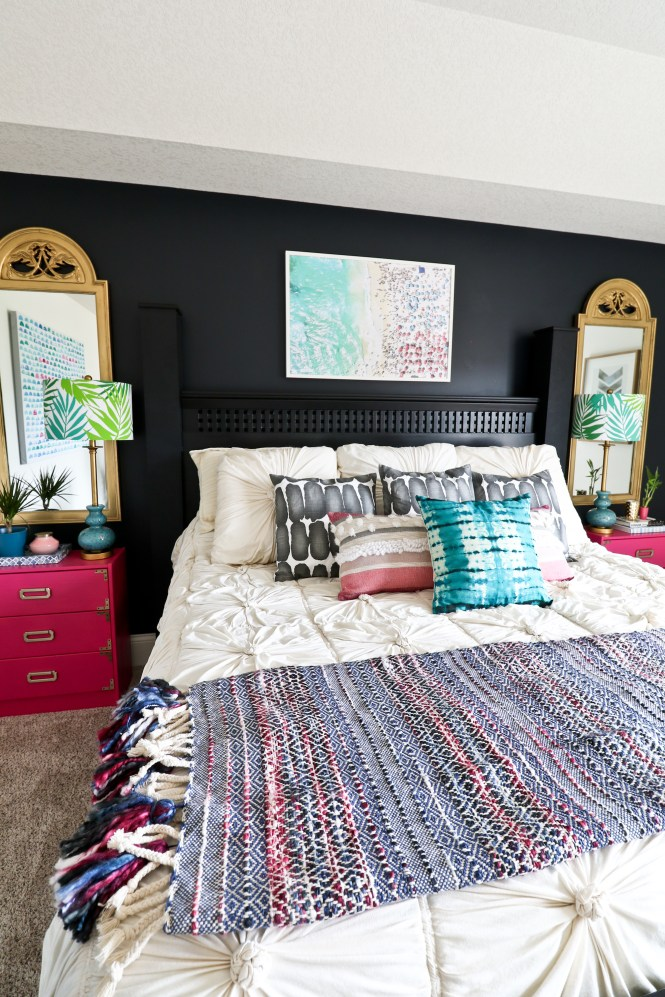 One Room Challenge Beachy Glam Master Bedroom Reveal: Gray Malin look for less; jewel tones, glam, boho, beachy; Anthropologie rosette comforter, throw pillows, gold mirrors,