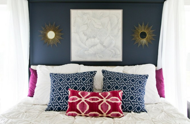 Navy and Plum Glam Master Bedroom; Mirrored Nightstands; Navy Bench; Pottery Barn Chandelier