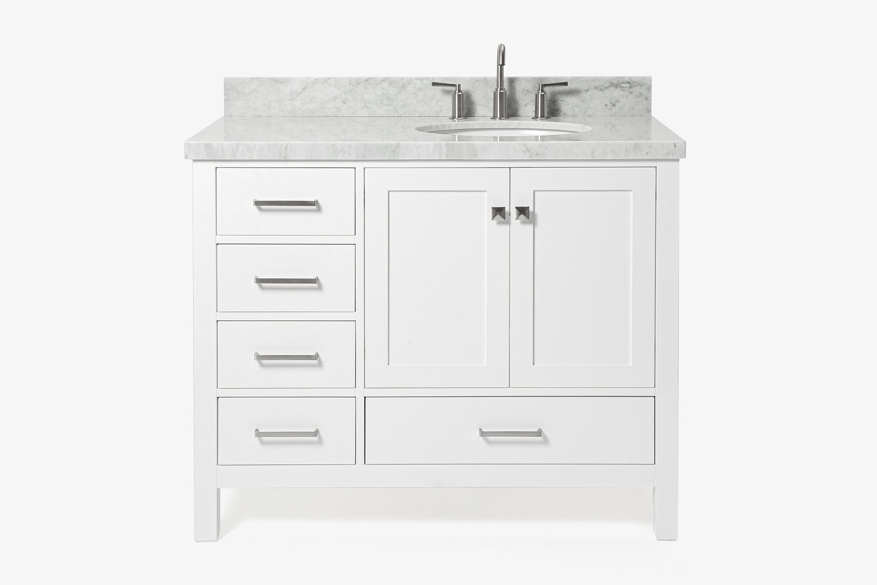 ariel cambridge 43 in right offset single oval sink vanity in white