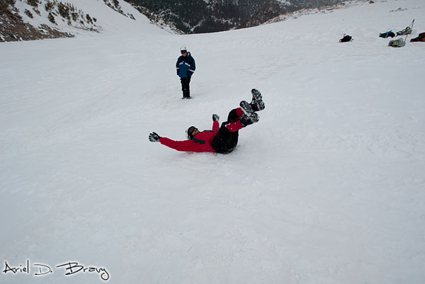 Me sliding backwards head-first down a mountain. Weee!!