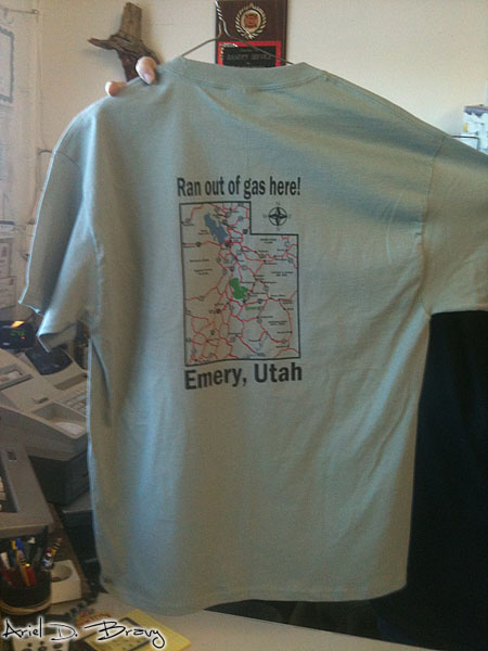 Ran out of gas shirt in Emery, UT
