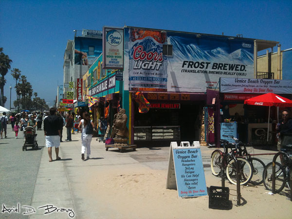 Coors sign and Oxygen Bar sign in Venice Beach