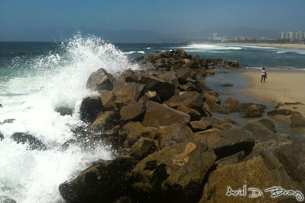 Crashing waves on the rocks of Venice Beach