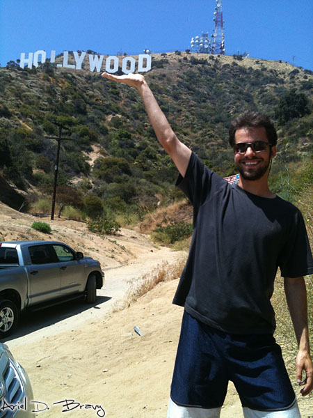 Holding up the Hollywood sign