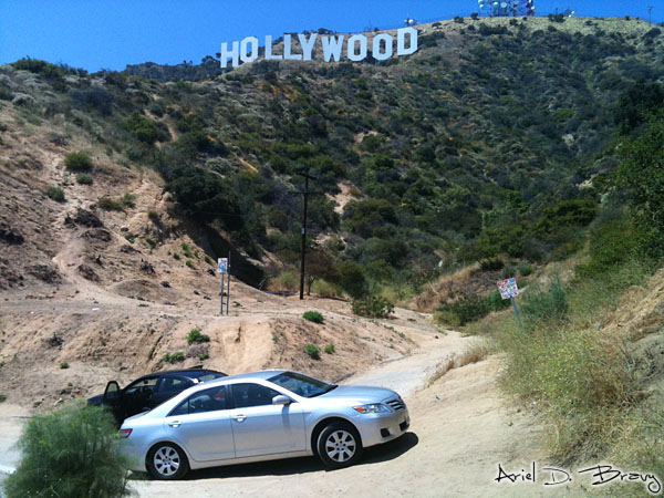 Parking area in front of the Hollywood sign