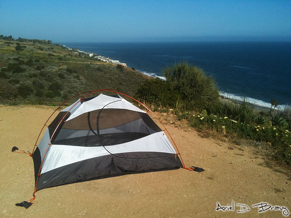 Tent camping along the coast of California
