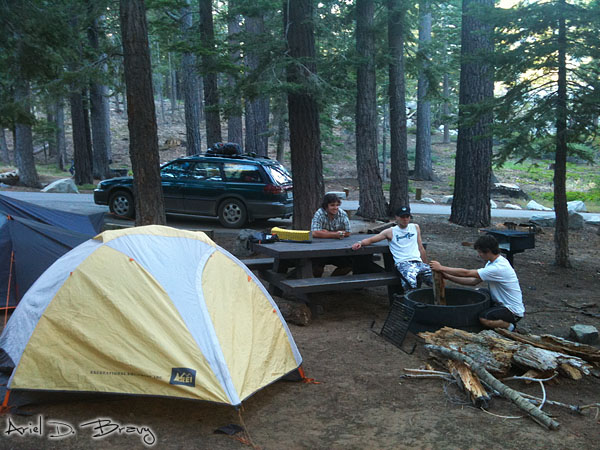 Getting the fire prepared at camp in Lake Tahoe
